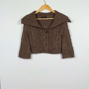 EXPRESS brown gold metallic thread cardi size XS